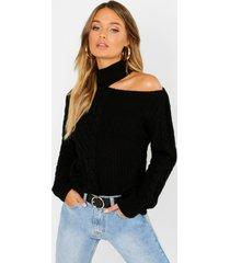 cable knit cut out shoulder sweater, black