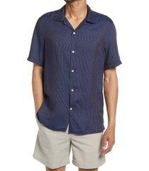 men's nn07 miyagi 5169 stripe short sleeve button-up camp shirt, size medium - purple