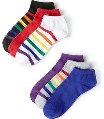 rainbow striped ankle socks 6-pack