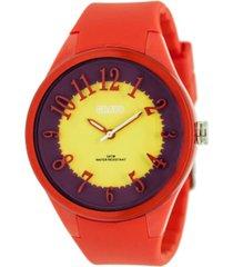 crayo unisex burst red silicone strap watch 40mm
