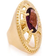 anel oval semijoia banho de ouro 18k crista lilás