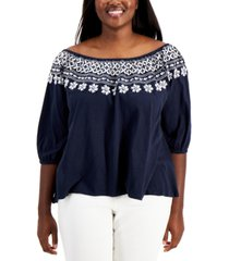 tommy hilfiger plus size off-the-shoulder embroidered top