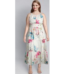 lane bryant women's floral ruffle midi dress 14/16 scribble floral