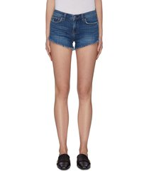 'zoe' perfect fit frayed braided hem denim shorts