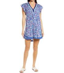 women's poupette st. barth sasha cover-up minidress, size small - blue