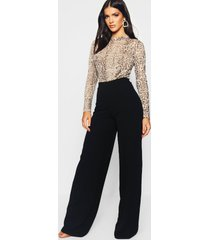 basic crêpe wide leg broek met hoge taille, zwart