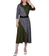 women's 3/4 sleeve color blocked dress with cowl mask neckline