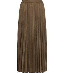 plisse jersey skirt knälång kjol brun mos mosh