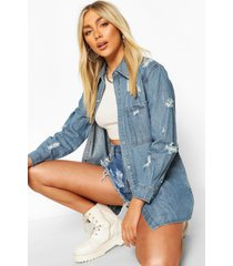 oversized ultra distressed denim shirt, mid blue