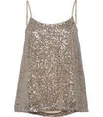 slflucille sequins strap top b t-shirts & tops sleeveless grå selected femme