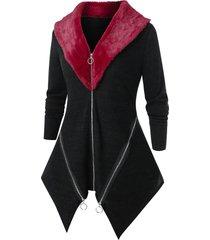 plus size faux fur panel zipper contrast cardigan