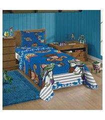 jogo de cama solteiro infantil lepper toy story 3 peças azul
