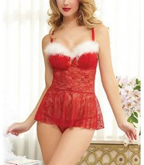 sexy cloth womens lingerie red christmas babydolls lace chemises for christmas g