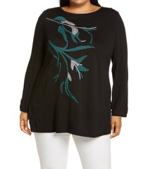 plus size women's ming wang embroidered front knit tunic, size 3x - black