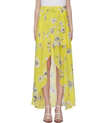 'kirstie' floral print mock wrap high-low skirt