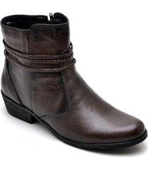 bota coturno couro feminino zíper cano médio lisa conforto
