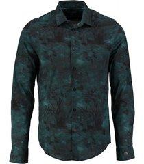 cast iron groen stretch overhemd