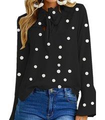zanzea tie up diseño polka dot round cuello blusa de manga larga