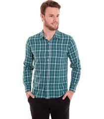 camisa xadrez areia branca slim fit manga longa verde