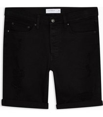 mens black ripped stretch skinny shorts