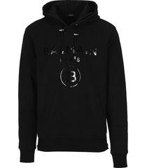balmain metallic logo hoodie