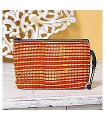 batik cotton cosmetic bag, 'scarlet plaid' (india)