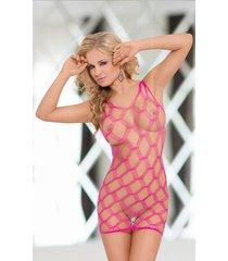 kitty een sexy jurkje van elastisch roze mesh