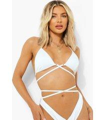 geribbelde driehoekige wikkel bikini top met strikjes, white