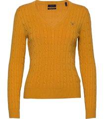 stretch cotton cable v-neck gebreide trui goud gant