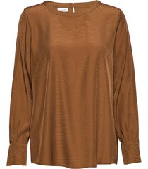 blouse long-sleeve blus långärmad brun gerry weber
