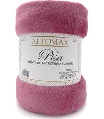 manta microfibra flannel casal pisa 1,80x2,20 - altomax - rosa glamour - rosa - dafiti