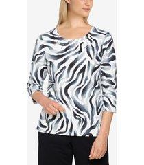 alfred dunner women's missy easy living casual zebra print top