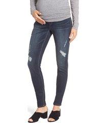 1822 denim distressed maternity skinny jeans, size x-large in hazel at nordstrom
