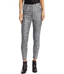 7 for all mankind women's metallic zebra print coated high-rise skinny jeans - grey metallic zebra - size 26 (2-4)