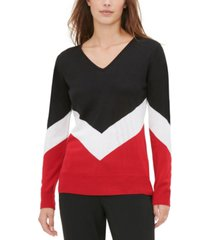 calvin klein chevron-stripe colorblocked sweater