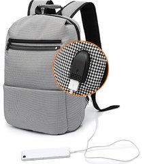 zaino da viaggio in plaid oxford con ricarica usb per computer borsa per uomo