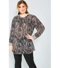 blouse sara lindholm beige::zwart