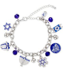 holiday lane silver-tone pave & bead hanukkah charm bracelet, created for macy's