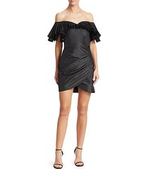 off-the-shoulder pleated & ruched silk taffeta butterfly sheath dress