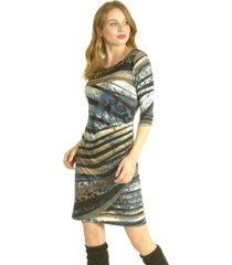 vestido drapeado azul bou's