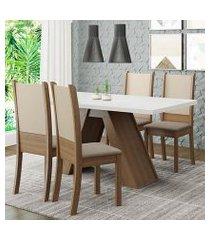 conjunto sala de jantar madesa kiara mesa tampo de madeira com 4 cadeiras rustic/branco/crema/bege rustic