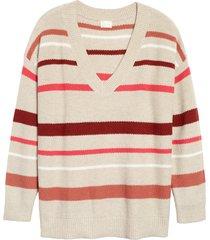 plus size women's caslon v-neck cotton pique sweater