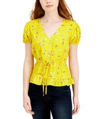 derek heart juniors' printed drawstring-waist top