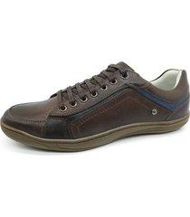 calçado masculino sapatênis em couro cor café kéffor linha fênix - kanui