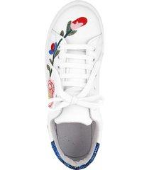 sneakers med blombroderier klingel flerfärgad