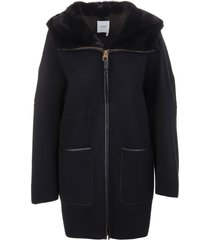 woman coat in black cashmere with fur