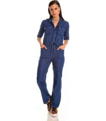 macacão jeans zait longo oceano - feminino
