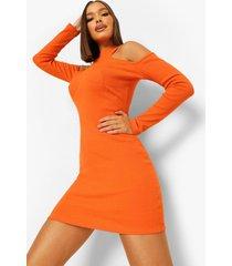 geribbelde jurk met uitgesneden schouders en stiksels, orange