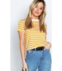 petite stripe raw hem cropped t-shirt, mustard