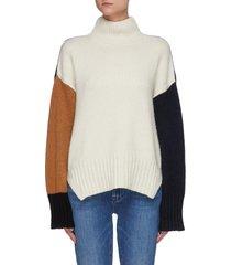 oversize colourblock turtleneck wool blend knit sweater
